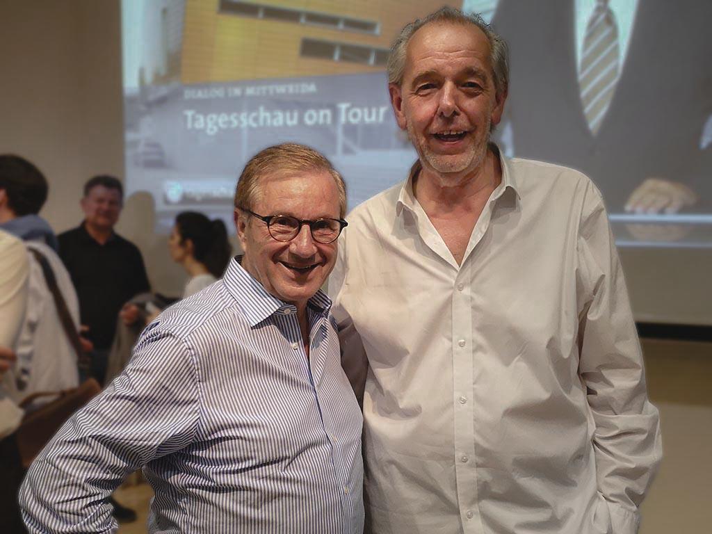 Jan Hofer und Prof. Horst Müller freuten sich über die rege Teilnahme der Zuschauer. (Foto: Tino Hausner)
